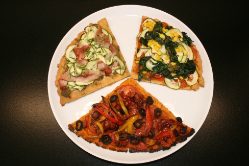 sweet potato slice with peppers, olives & tomatoes