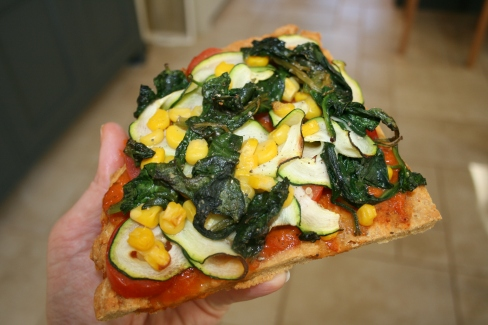 Spinach, courgette, corn & tomato toppings