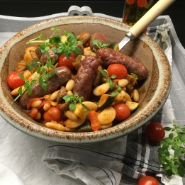 Sausages with Bean Ratatouille
